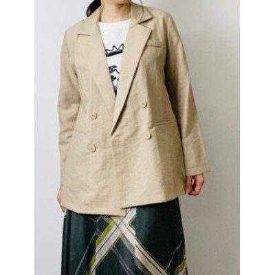 リネン混 ロングテーラードジャケット || レディースアパレル アウター