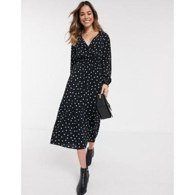 ニュールック レディース ワンピース トップス New Look shirred waist v neck maxi dress in black polka dot