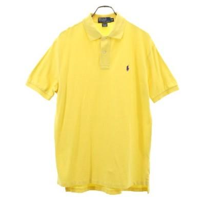 ポロラルフローレン 半袖 ポロシャツ M イエロー POLO RALPH LAUREN ワンポイント ロゴ 刺繍 鹿の子 メンズ 古着 200615
