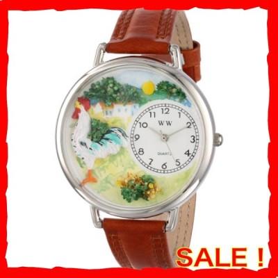 めんどり 茶色レザー シルバーフレーム時計 #U0110001