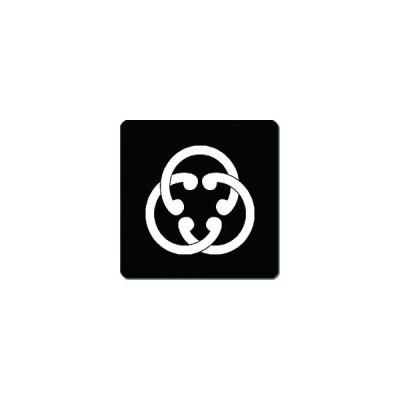 家紋シール 三つ組み鐶紋 24cm x 24cm KS24-1486W 白紋