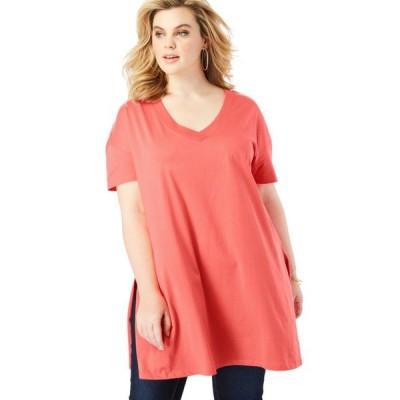 レディース 衣類 トップス Roaman's Women's Plus Size V-Neck Ultimate Tunic グラフィックティー