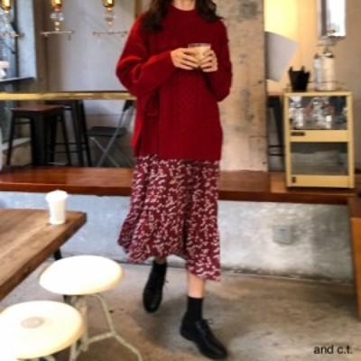 セーターワンピースニットラウンドネック長袖 花柄ゆったりあったかカジュアル秋冬お出かけデート女子会韓国