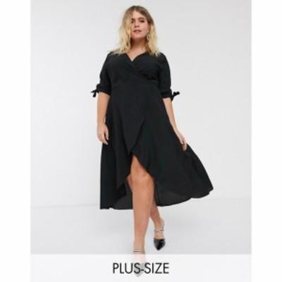 アックスパリス AX Paris Plus レディース ワンピース ラップドレス ミドル丈 ワンピース・ドレス Midi Wrap Dress In Black ブラック