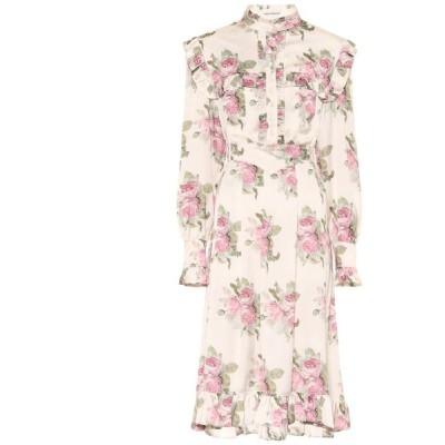 パコラバンヌ Paco Rabanne レディース ワンピース ミドル丈 ワンピース・ドレス Floral midi dress Light Beige Bouquet