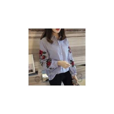 シャツブラウスレディース刺繍ストライプ花柄長袖トップストレンド大きいサイズゆったり開襟折り襟シングル春夏新作