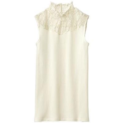 シャーリング衿レースタンクトップ/オフホワイト/L