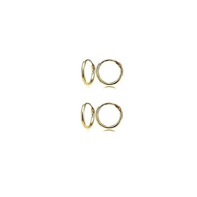 Gold Flash Sterling Silver Small Endless 12mm Round Unisex Hoop Earrin