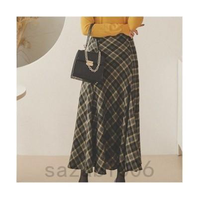 スカート レディース 秋 40代 50代 フォーマル ファッション 女性 上品 ロング丈 ロングスカート ハイウエスト チェック きれいめ