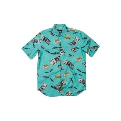 ボタンダウンシャツ ディージーケー DGK Men's Festive Woven Buttondown Shirts Turquoise Blue Clothing Apparel