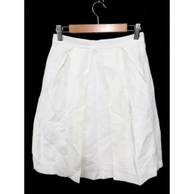 【中古】ビームス BEAMS ラピスルーチェ LAPIS LUCE スカート フレア ひざ丈 リネン 麻 36 白 ホワイト /SU20 レディース