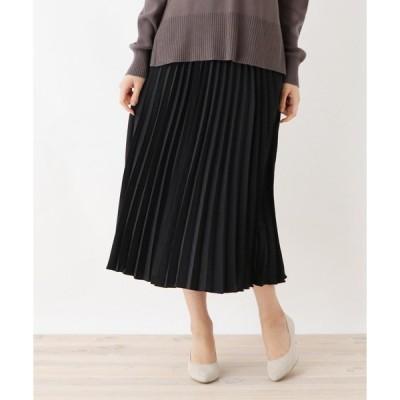 スカート ヴィンテージ風サテンプリーツロングスカート