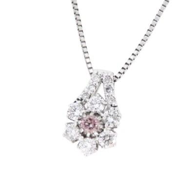 ピンクダイヤモンド ダイヤモンド フラワー ネックレス ファンシーピンク FANCY PINK 0.09ct 0.48ct ホワイトゴールド K18WG 花 雪 結晶 【ジュエリー】