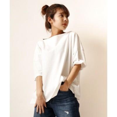 tシャツ Tシャツ 【Arinomama】アメリカンコットンボートネック半袖Tシャツ womens