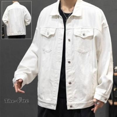 デニムジャケット メンズ Gジャン ジャンパー ブルゾン デニム ホワイト 白 学生 通学 ジャケット 秋服