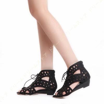 サンダル レディース ウェッジソール 歩きやすい レースアップ サンダル ローヒール 履きやすい ブーツサンダル ぺたんこ 軽量 疲れない パンチングデザイン