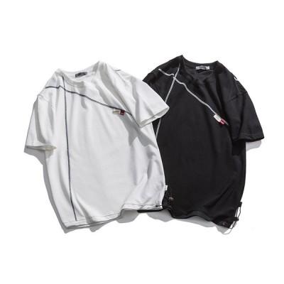 Tシャツ メンズ 半袖 プリント 個性 夏服 トップ 新品 カジュアル 綿Tシャツ メンズTシャツ ゆったり 学生運動会 文化祭 黒 白 M L XL 2XL