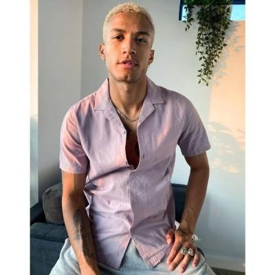 エイソス ASOS DESIGN メンズ シャツ トップス regular fit linen shirt with revere collar in dusky lilac ライラック