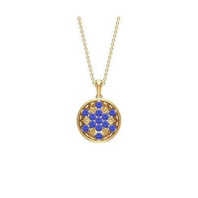 Tanzanite Pendant Necklace 1 CT, Cluster Jewelry, Gold Disc Pendant Necklace (2.50 MM Round Shaped Tanzanite), 14K Yellow Gold送料無料