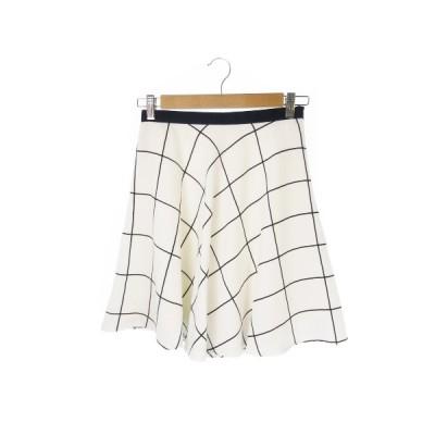 【中古】ロペピクニック ROPE Picnic スカート フレア ミニ チェック 38 白 ホワイト /YH10 ★ レディース 【ベクトル 古着】