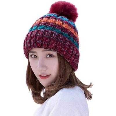 メアリーマーサ ニット 帽 キャップ 裏 ボア ウール 内 側 もこもこ 暖かい フリー サイズ(ワインレッド, Free Size)