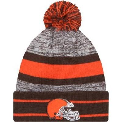 ニューエラ メンズ 帽子 アクセサリー New Era Men's Cleveland Browns Brown Cuff Pom Beanie