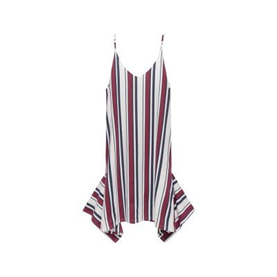 Re:EDIT ポンチ素材裾広がりキャミワンピース ストライプレッド