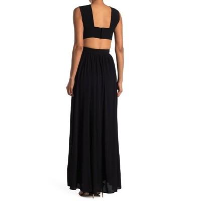 プロエンザショラー レディース ワンピース トップス Cutout Sleeveless Maxi Dress BLACK/SKY BLUE INKY LEOPARD