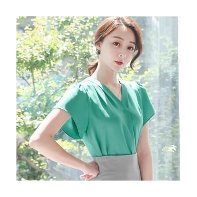 ブラウス レディース おしゃれ 無地 きれいめ 通勤 半袖 30代 40代 50代 ファッション 高級感 上品 夏 白 緑