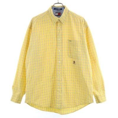 トミーヒルフィガー 90s オールド 長袖 ボタンダウンシャツ L イエロー TOMMY HILFIGER シアサッカー メンズ 古着 200901 メール便可