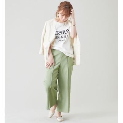 【リエス/Liesse】 リネン混オックス センターピンタックワイドパンツ