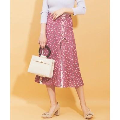 スカート 小花柄レースアップスカート