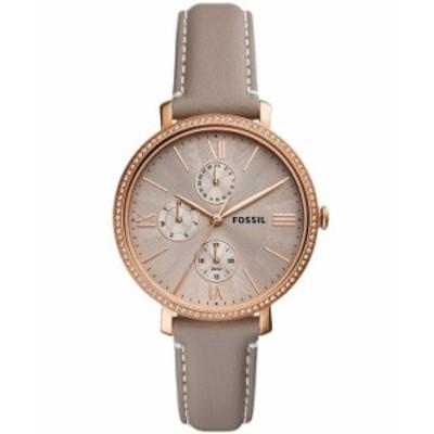 フォッシル レディース 腕時計 アクセサリー Women's Jaqueline rose gold tone multifunction movement gray leather watch 38mm Gray
