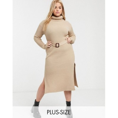 インザスタイル ドレス 大きいサイズ レディース In The Style x Billie Faiers Plus knitted roll neck midi dress with belt in camel エイソス ASOS