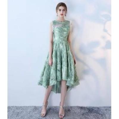 ドレス ワンピース ひざ丈 ノースリーブ グリーン エレガント 30代 大人可愛い 上品 きれいめ 春夏 結婚式 お呼ばれ 40代 a698