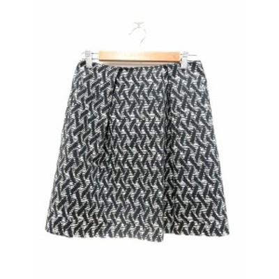 【中古】ドレステリア DRESSTERIOR スカート 台形 ミニ 総柄 38 黒 ブラック 白 ホワイト /MN レディース