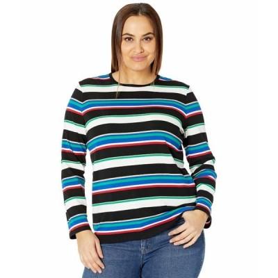 ラルフローレン シャツ トップス レディース Plus Size Metallic Stripe Cotton Blend Top Black Multi