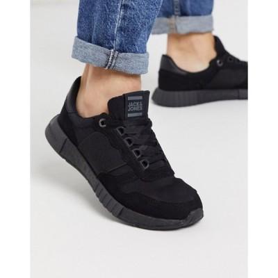 ジャック アンド ジョーンズ メンズ スニーカー シューズ Jack & Jones runner sneakers with elasticated detail in black