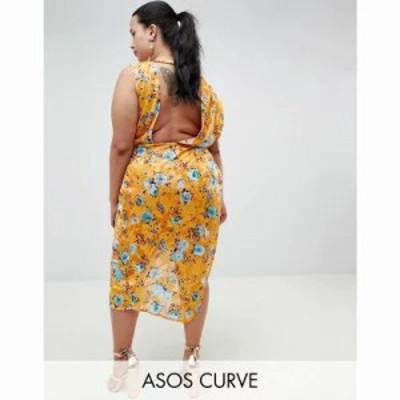 エイソス ワンピース ASOS DESIGN Curve midi dress in printed jacquard with open back Multi