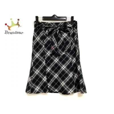 バーバリーブルーレーベル スカート サイズ38 M レディース - 黒×ダークグレー×ライトブルー 新着 20201113