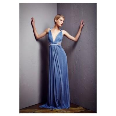 ワンピース 海外セレクション Pamella Roland COLLECTION Dusty Blue Silk Tulle Beaded Gown 6