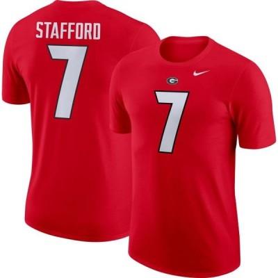 メンズ スポーツリーグ アメリカ大学スポーツ Nike Men's Georgia Bulldogs Matthew Stafford #7 Red Dri-FIT Football Jersey T-Shirt