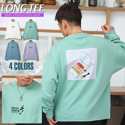 ロンT メンズ トップス ストリート スケボー ロゴ イラスト プリント ビッグシルエット 長袖Tシャツ