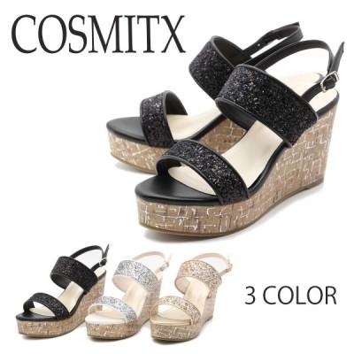 COSMITX コスミティクス トレンドシューズ サンダル  グリッター ストラップ ウェッジ 44-2111