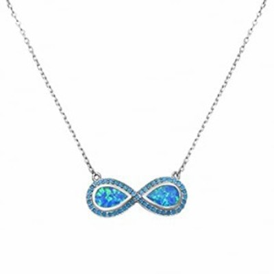 Infinity Necklace Pendant Round Simulated Turquoise Created Blue Opal 925 Sterling Silver Choose Color