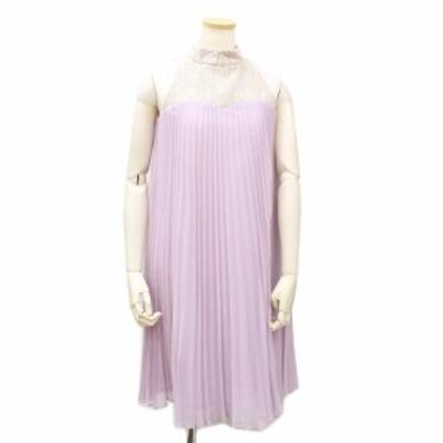 (美品)イランイラン レース×プリーツ ワンピース ドレス M パープル 紫