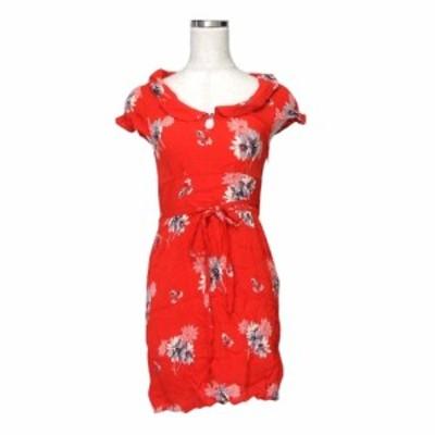 美品 American Eagle アメリカンイーグル ボタニカルワンピース (赤 ドレス 半袖 花柄 フラワー) 117148【中古】