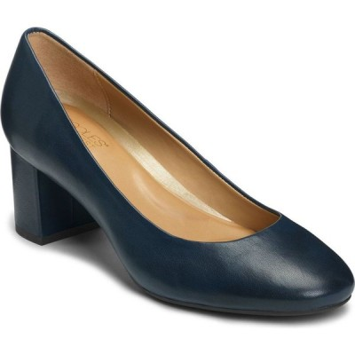 エアロソールズ Aerosoles レディース パンプス シューズ・靴 Eye Candy Block Heel Pumps Navy Leather