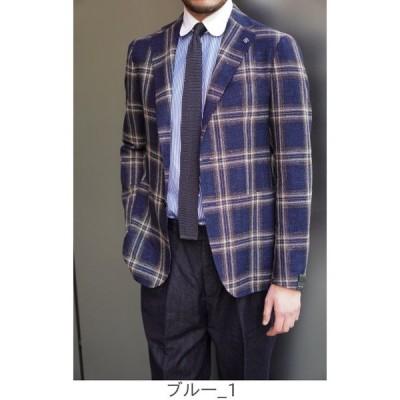 TAGLIATORE 大柄チェックジャケット 蒼×白×茶 DESIGNWORKS (MEN'S) デザインワークス (メンズ)
