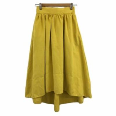 【中古】ミュークチュール スカート フレア ギャザー ロング フィッシュテール 無地 M 黄 イエロー レディース